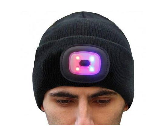 Caciula unisex cu casti Bluetooth incorporate si lanterna LED