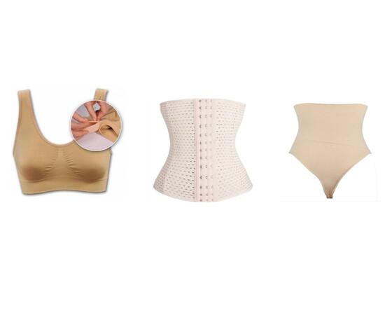 SET: Bustiera cupa burete  + Centura modelatoare tip corset, cu prindere mos si baba + Chilot modelator (tanga sau clasic) cu banda adeziva, talie inalta