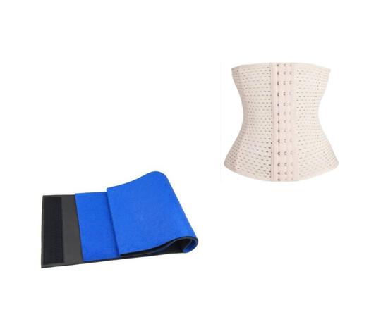 SET: Centura reglabila neopren de la S la XL + Centura modelatoare tip corset, efect talie de viespe cu prindere mos si baba