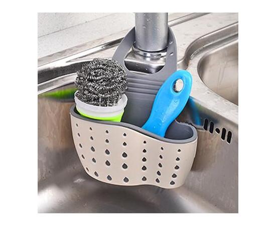 SET: Suport pentru bureti de vase chiuveta - din cauciuc rezistent + Burete silicon antibacterian, pentru spalat vase