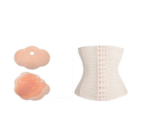 SET: Un set plasturi pentru slabit (5 buc) +  Centura modelatoare tip corset, efect talie de viespe cu prindere mos si baba